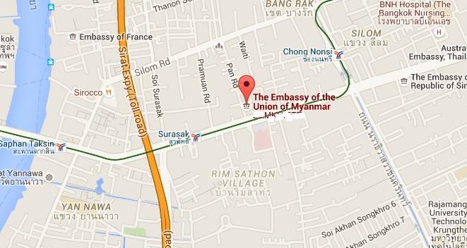 Ambasada Birmy wBangkoku_lokalizacja